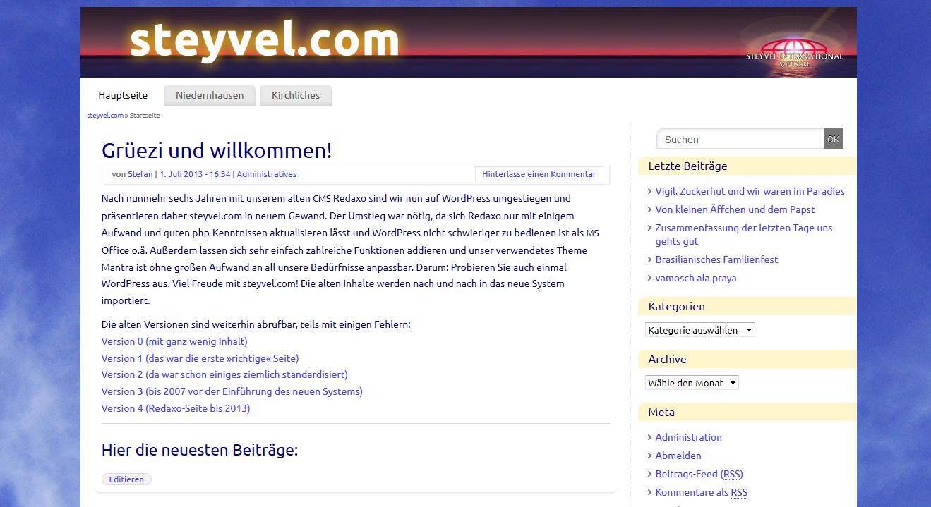 Bildschirm Steyvel Homepage
